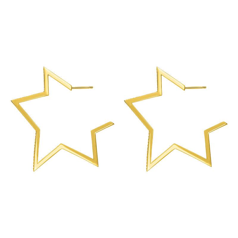 Gold topaz big-star earrings, J03633-02-WT, hi-res