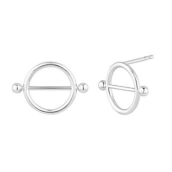 Small silver piercing bar hoop earrings, J04317-01, hi-res