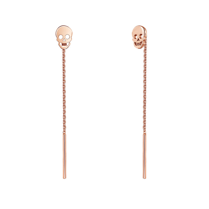 Pendientes calavera plata recubierta oro rosa, J03944-03, hi-res