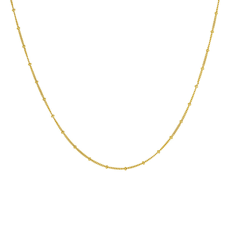 Gold plated chain balls necklace, J04614-02, hi-res