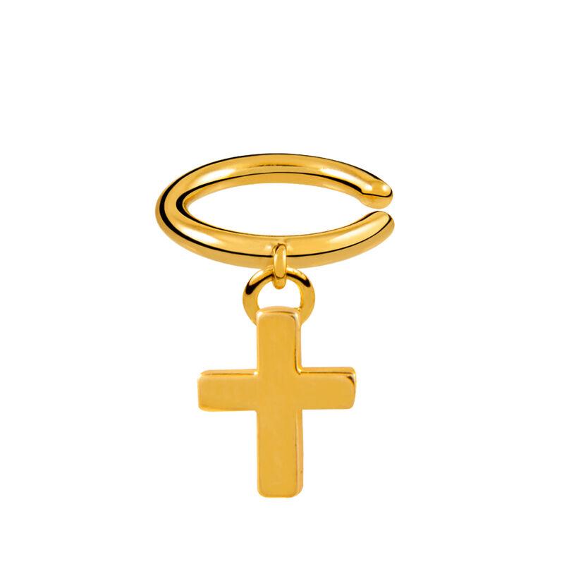 Pendiente piercing cruz cartílago oro, J01578-02, hi-res