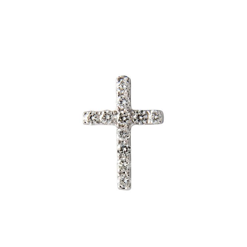 Pendiente cruz diamantes oro blanco 0,045 ct, J00341-01-H, hi-res