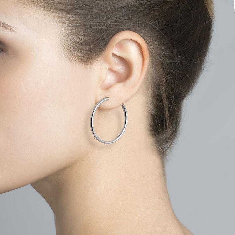 Silver Large Hoop Earrings, J01591-01, hi-res