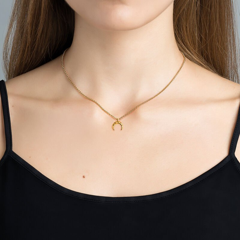 Gold plated moon necklace, J03461-02, hi-res