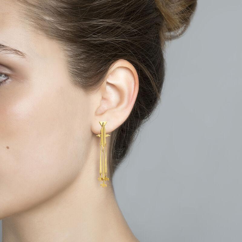 Boucles d'oreilles oiseau pendant argent plaqué or, J04561-02, hi-res