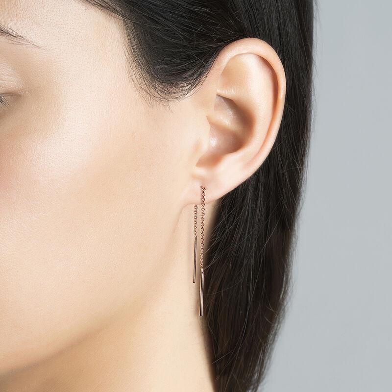 Simple rose gold plated pendant earrings, J04640-03, hi-res