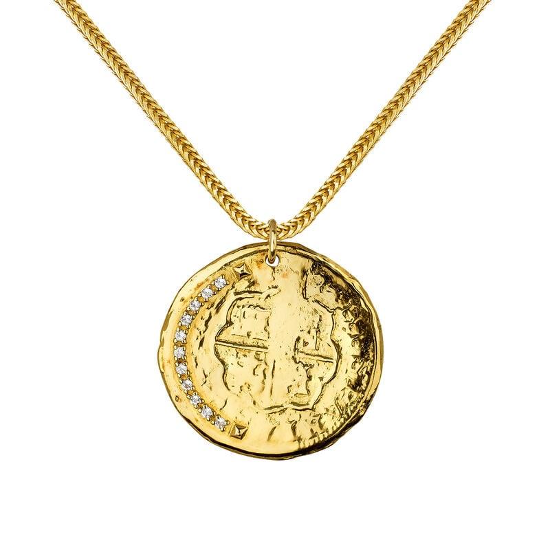Gold coin pendant, J03590-02-WT, hi-res