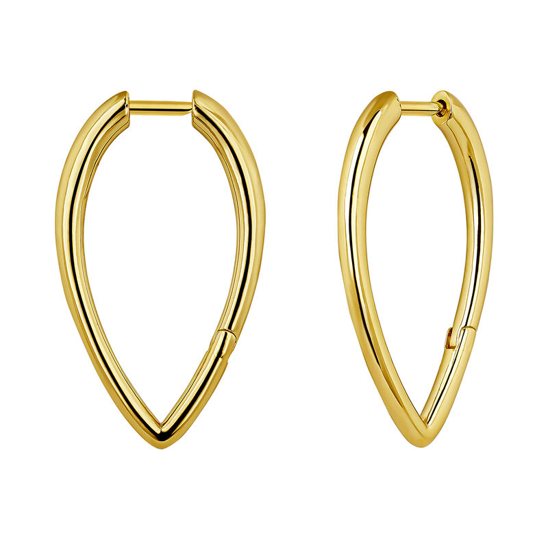 Big drop gold plated hoop earrings, J04646-02, hi-res