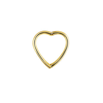 Gold heart hoop piercing, J04344-02-H, hi-res