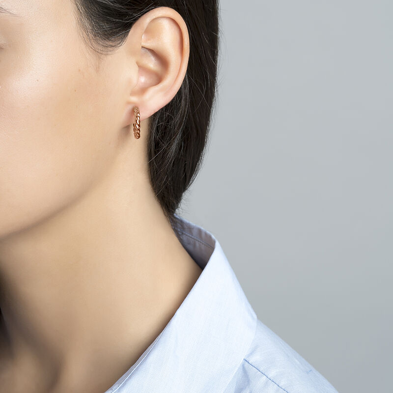 Boucles d'oreilles créoles torsadées mini argent plaqué or rose, J01586-03, hi-res