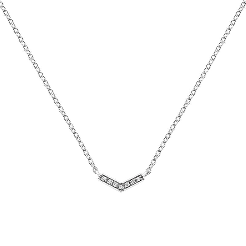 Silver v-shape necklace with topaz, J03293-01-WT, hi-res