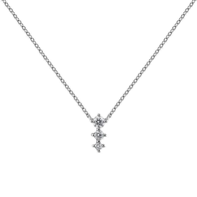 White gold diamond triple necklace 0.06 ct, J03365-01, hi-res