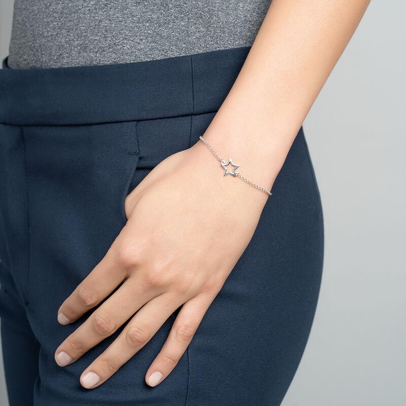 Silver hollow star bracelet, J01373-01, hi-res