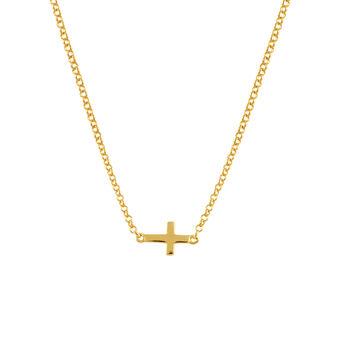 Colgante cruz simple plata recubierta oro, J00653-02, hi-res