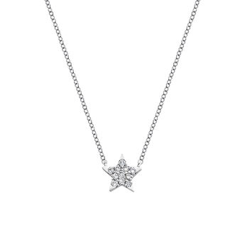 Collier étoile diamants 0,06 ct, J03024-01, hi-res