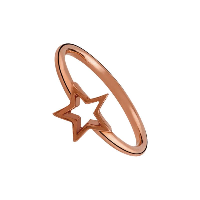 Anillo estrella hueca plata recubierta oro rosa, J01893-03, hi-res