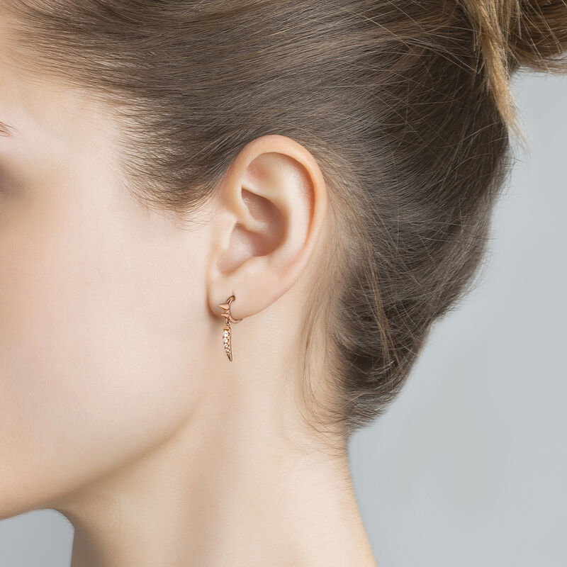 Pendiente piercing de aro dos pinchos diamantes oro rosa 0,05 ct, J03875-03-H, hi-res
