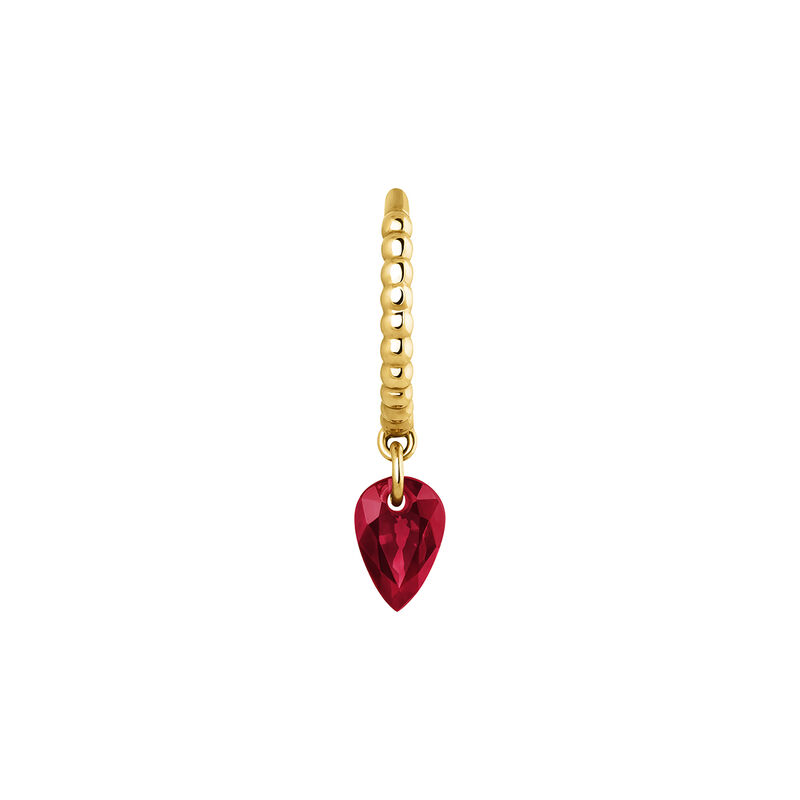 Hoop earring balls ruby in gold, J04076-02-RU-H, hi-res