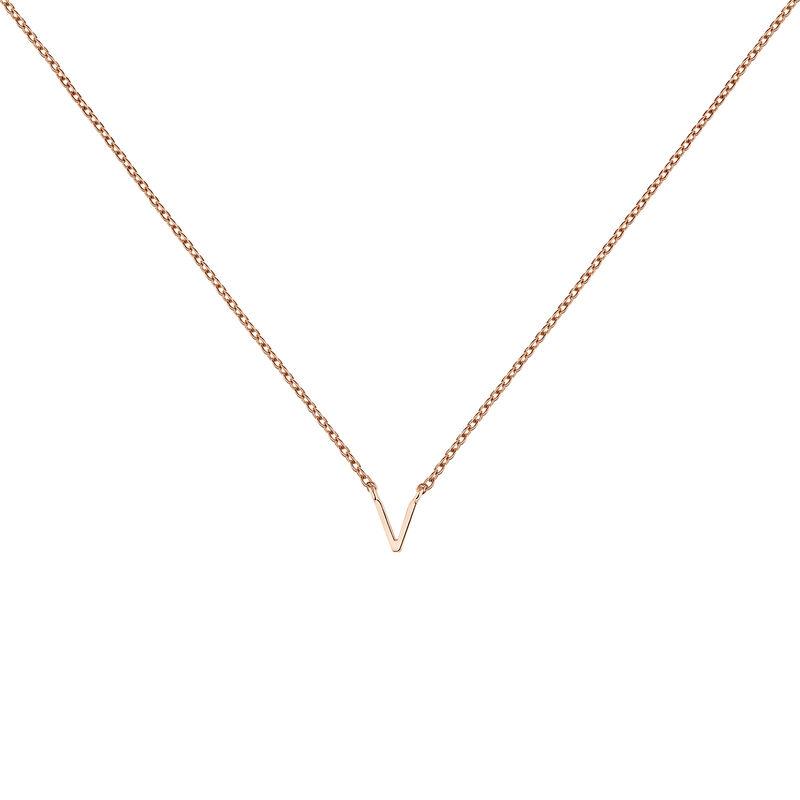 Collier initiale V or rose, J04382-03-V, hi-res