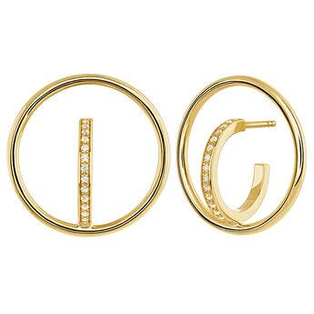 Boucles d'oreilles créoles cercle topaze argent plaqué or, J04029-02-WT, hi-res