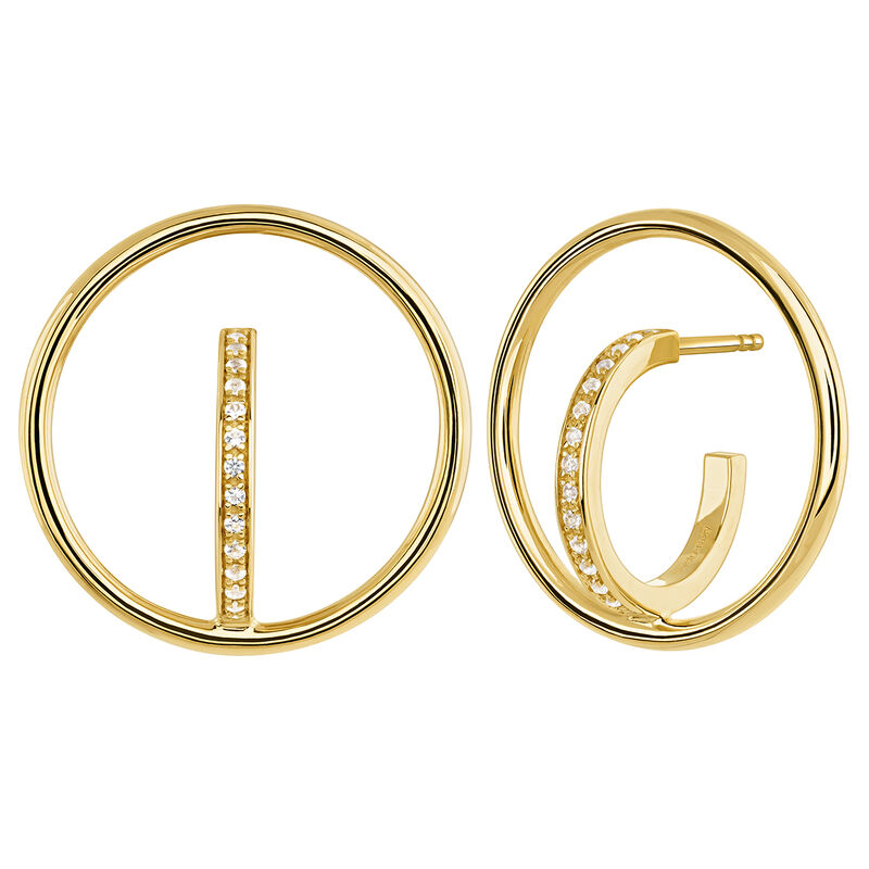 Gold plated circle hoop earrings with topaz, J04029-02-WT, hi-res