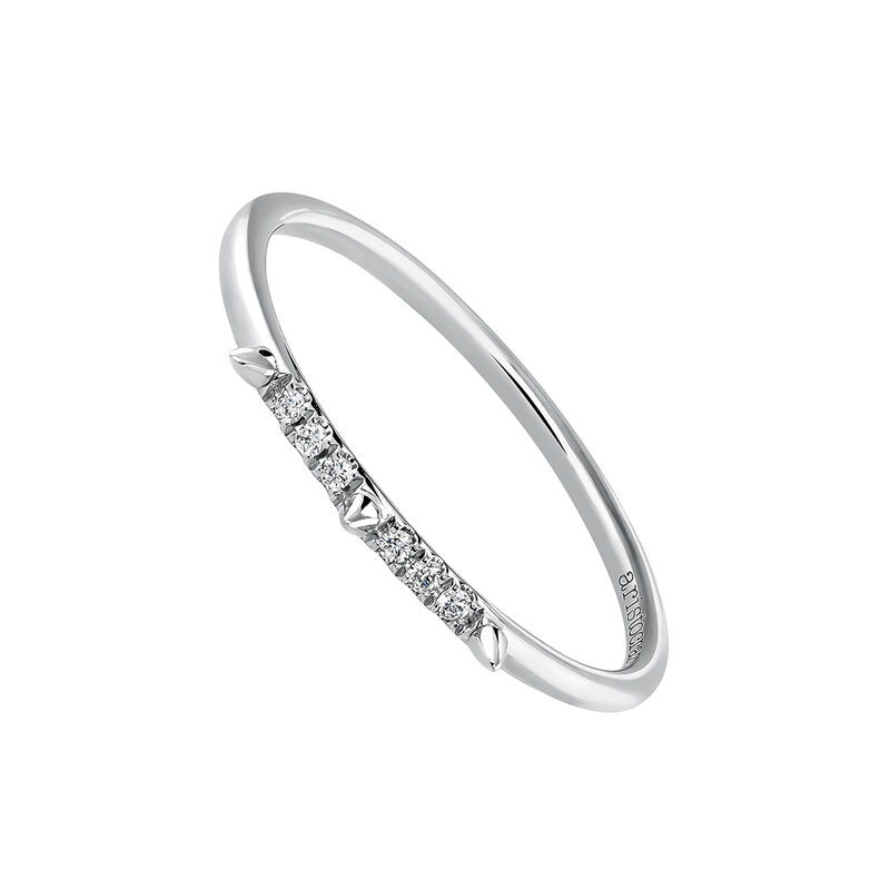 White gold spike and diamond ring 0.03 ct, J03879-01, hi-res