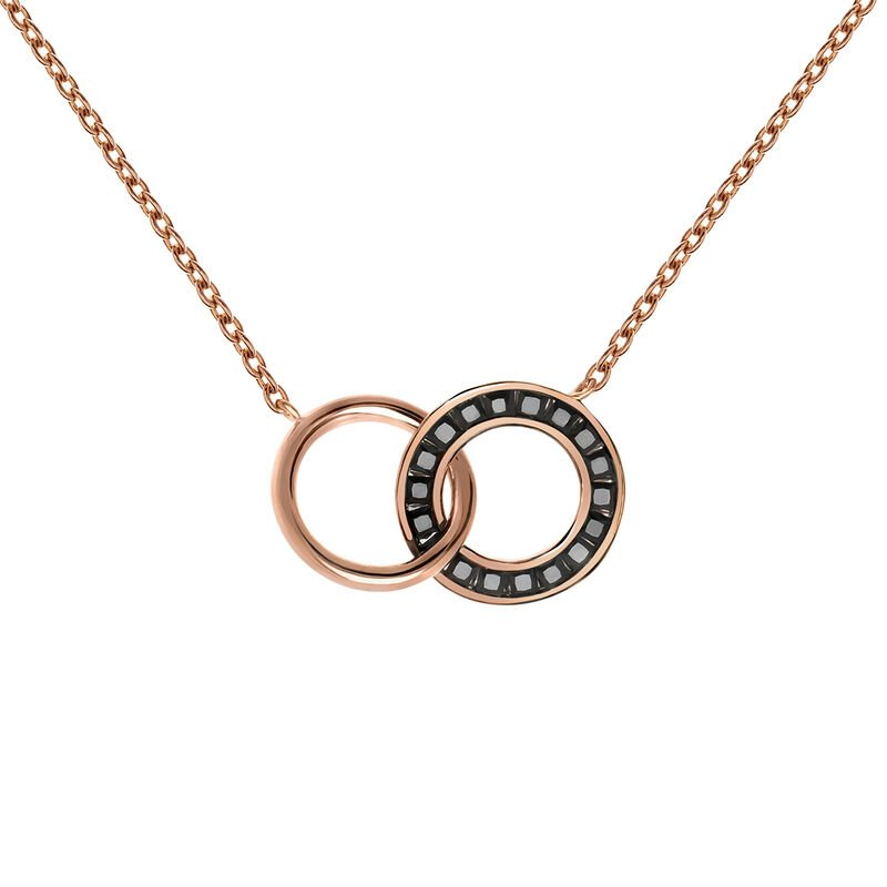 Rose gold plated spinel double circle necklace, J03667-03-BSN, hi-res