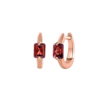 Rose gold plated garnet hoop earrings, J03274-03-GAR, hi-res