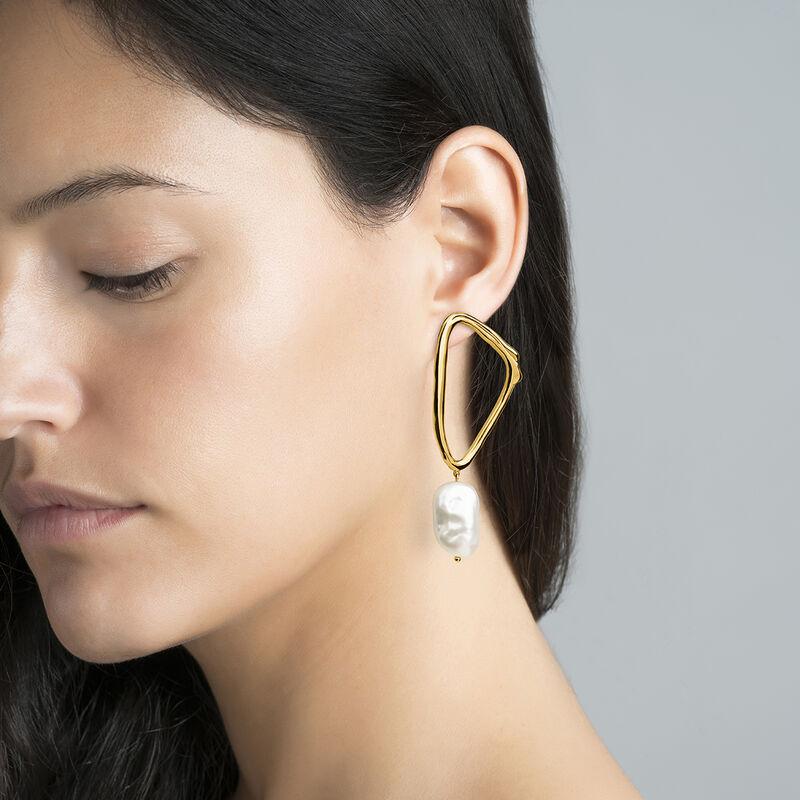 Boucles d'oreilles triangulairese perle barroque argent plaqué or, J04200-02-WP, hi-res