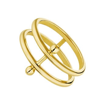 Gold plated silver piercing bar double ring, J04323-02, hi-res