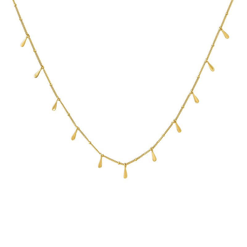Gold plated drop motifs necklace, J04591-02, hi-res