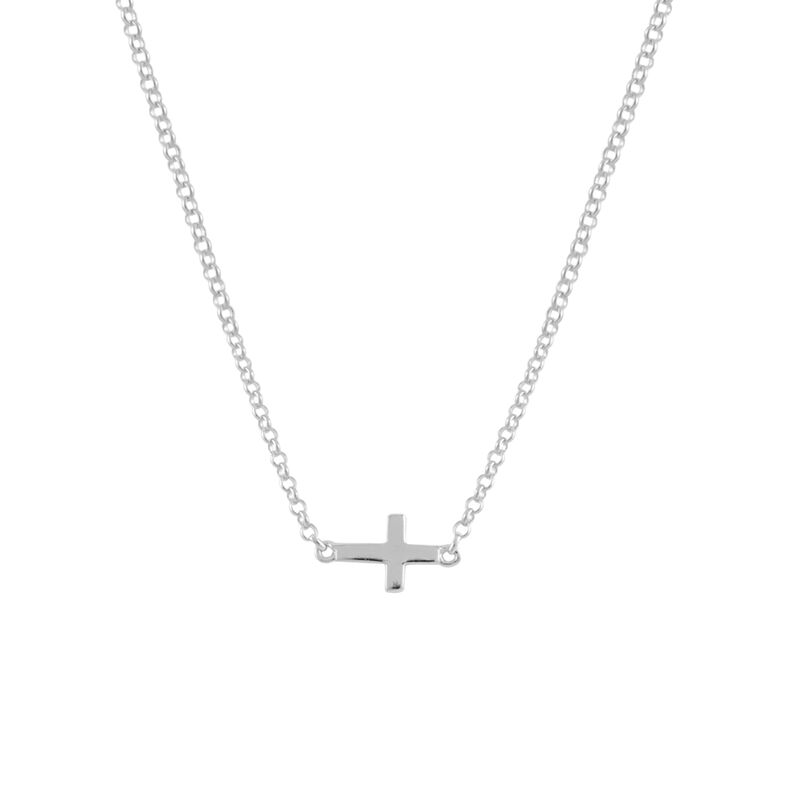 Silver simple cross necklace, J00653-01, hi-res