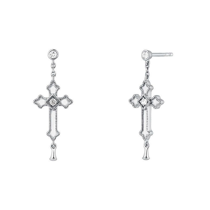 Silver topaz drop earrings with a medium-sized cross, J04228-01-WT, hi-res