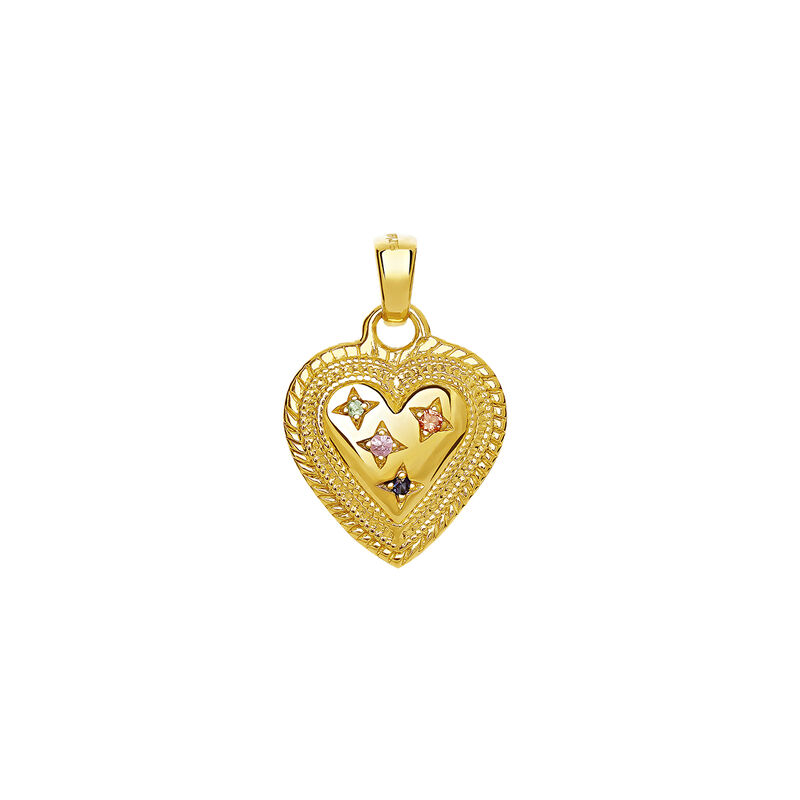 Gold Heart Pendant with Stones, J03526-02-MULTI, hi-res