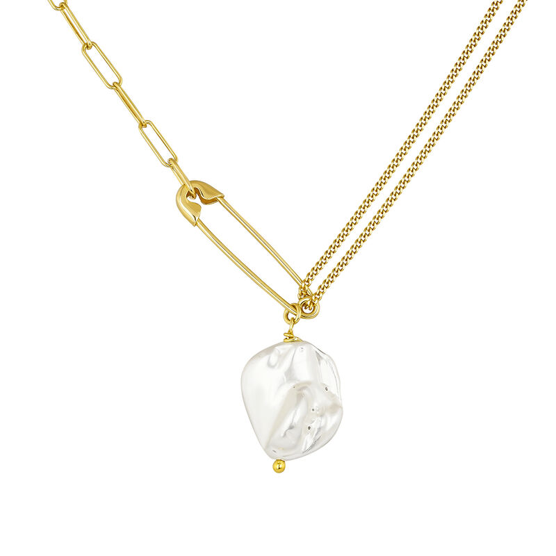 Gold plated pearl safety pin necklace, J04574-02-WP, hi-res
