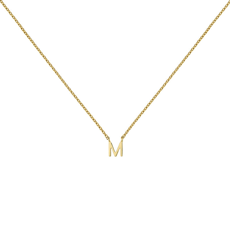 Collier initiale M or, J04382-02-M, hi-res