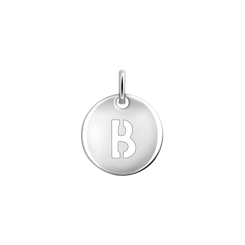 Silver initial B medal necklace, J03455-01-B, hi-res