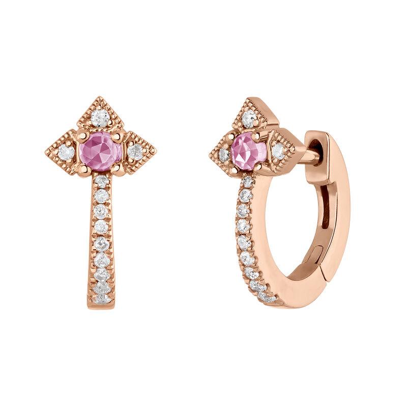 Pendientes de aro vintage plata recubierta oro rosa, J03796-03-PS, hi-res