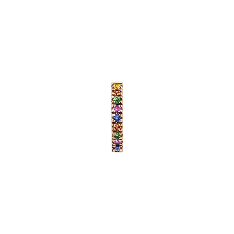 Pendiente aro piercing piedras de colores oro rosa 9 kt, J04334-03-MULTI-H, hi-res