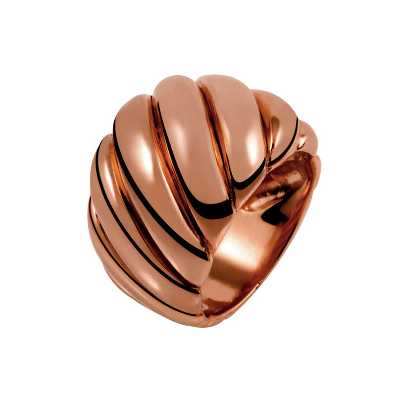 Large rose gold plated cabled ring, J01439-03, hi-res