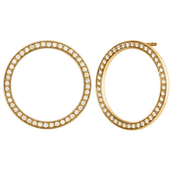 Gold plated circle earrings with topaz, J04051-02-WT, hi-res