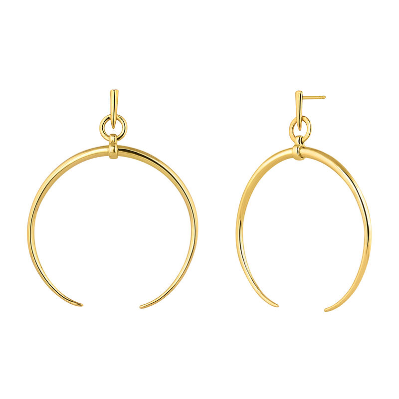 Large gold plated half-moon hoop earrings, J04215-02, hi-res