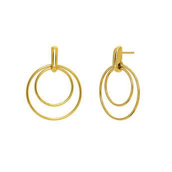 Thin gold plated double hoop earrings, J03653-02, hi-res