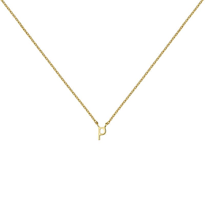 Gold Initial P necklace, J04382-02-P, hi-res