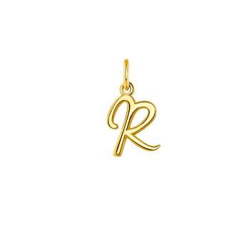 Pendentif lettre R argent plaqué or, J03932-02-R, hi-res