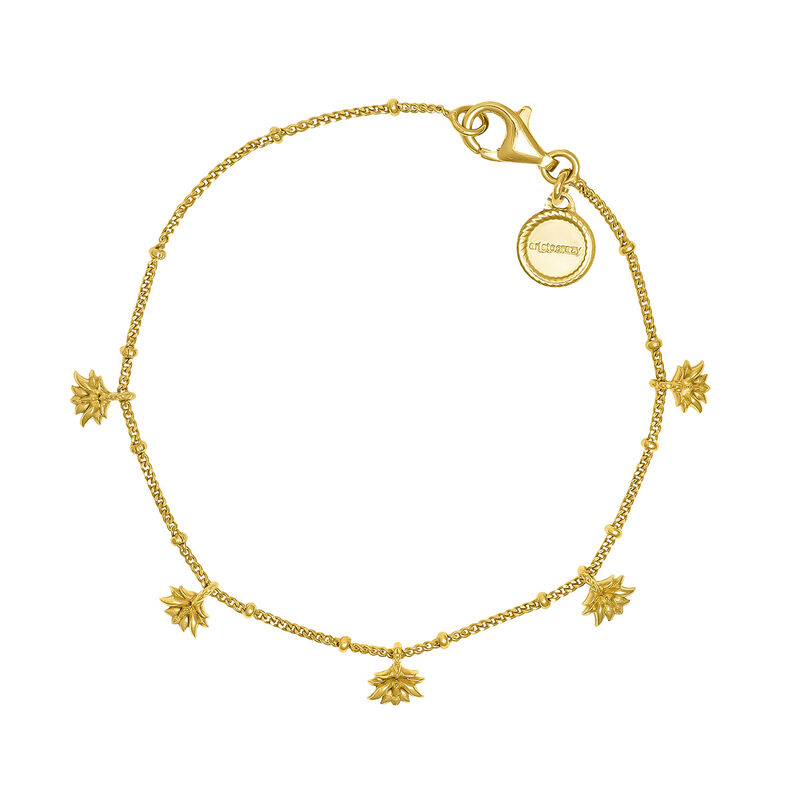 Gold plated lotus flower pendant motifs bracelet, J04594-02, hi-res