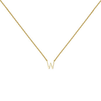 Gold Initial W necklace, J04382-02-W, hi-res