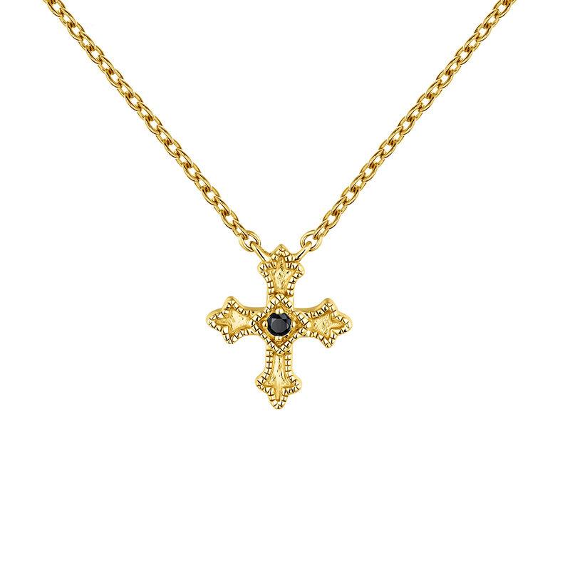 Collier petite croix argent plaqué or avec spinelles, J04230-02-BSN, hi-res