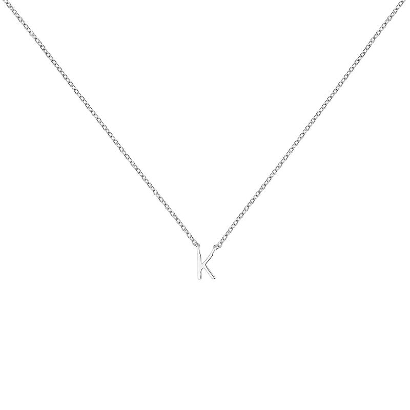 Collier iniciale K or blanc, J04382-01-K, hi-res