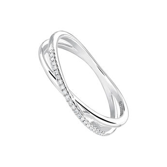 White gold smooth and diamond pavé crossover ring, J03936-01-05, hi-res